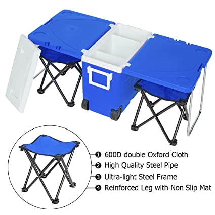91e13b401854 VINGLI Upgraded Multi-Function Insulated Beverage Rolling Cooler Warm,  Picnic Camping Outdoor w/Table & 2 Portable Foldable Camping Fishing Chair  ...