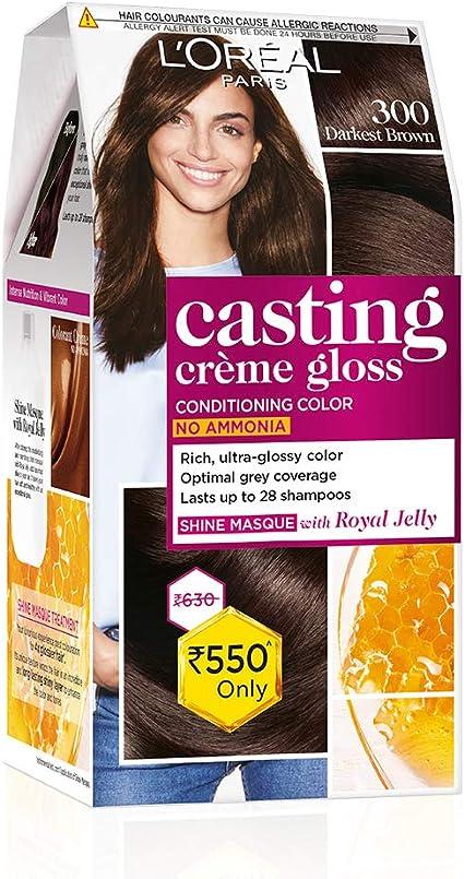 LOreal Paris Casting Creme Gloss, Darkest Brown 300, 87.5g+72ml