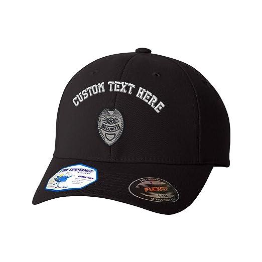 d41b54e3ee122 Amazon.com  Custom Text Embroidered Security Badge Flexfit Hat Baseball Cap  Black  Clothing