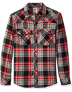 Men's Long Sleeve Brushed Flannel Plaid Western Shirt, Black, Small