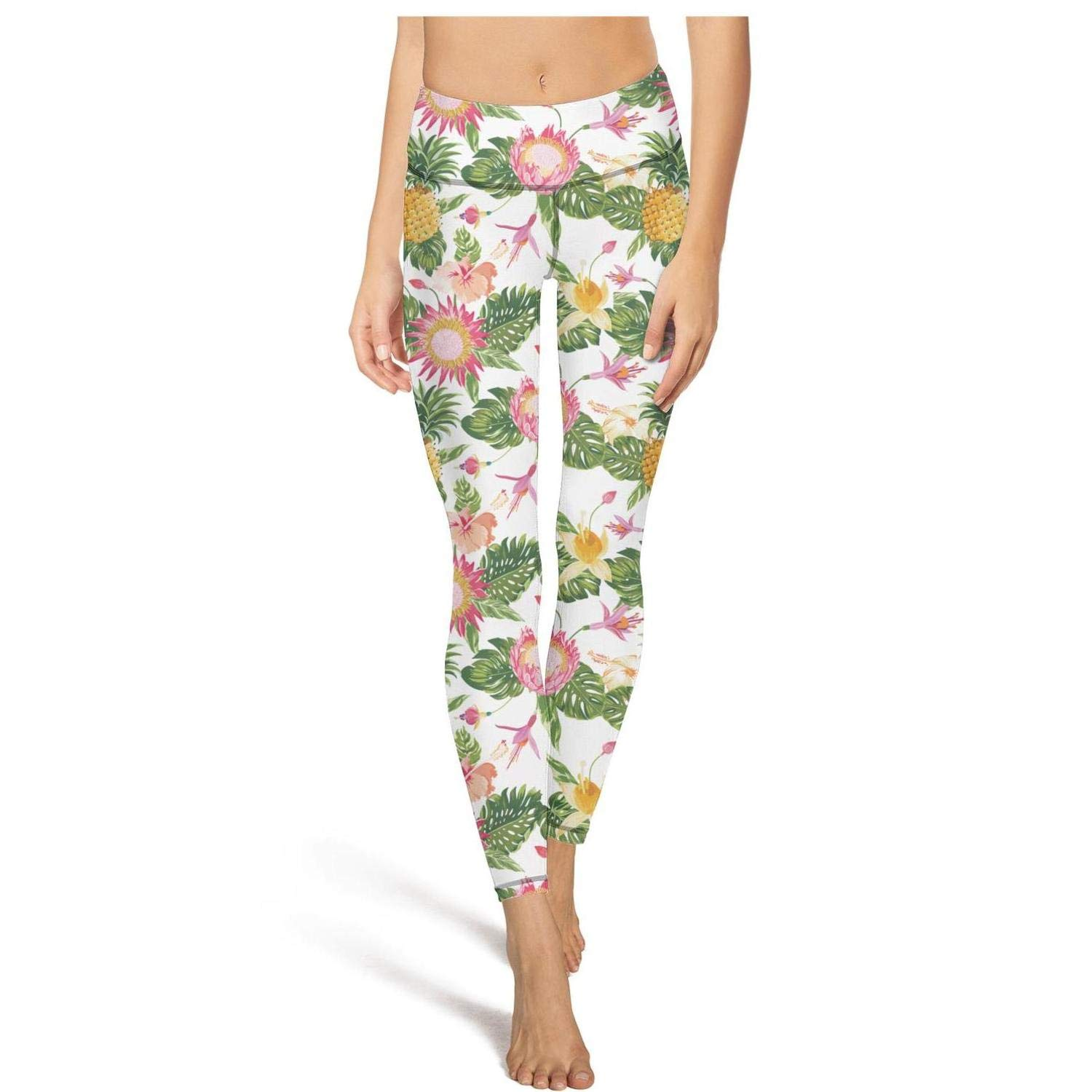 PROGIFToO Womens Workout Running Legging Watercolor Pineapple Tummy Control Yoga Pants Stretch