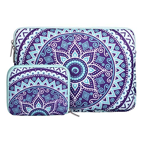 MOSISO Laptop Sleeve Compatible 13 Inch New MacBook Pro Touch Bar A1989 & A1706 & A1708 2018 2017 2016, Surface Pro 2017, Dell XPS 13, Canvas Mandala Tablet Bag with Small Case, Ultra Violet and Green by MOSISO
