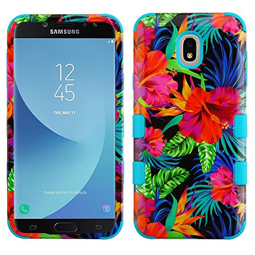 TUFF Series Samsung Galaxy J7/J7V, Military Grade Drop Tested [MIL-STD 810G-516.6 Certified] Protection Case Cover and Atom Cloth for Samsung Galaxy J7, J7 V 2nd Gen 2018 (J737V) - Electric Hibiscus