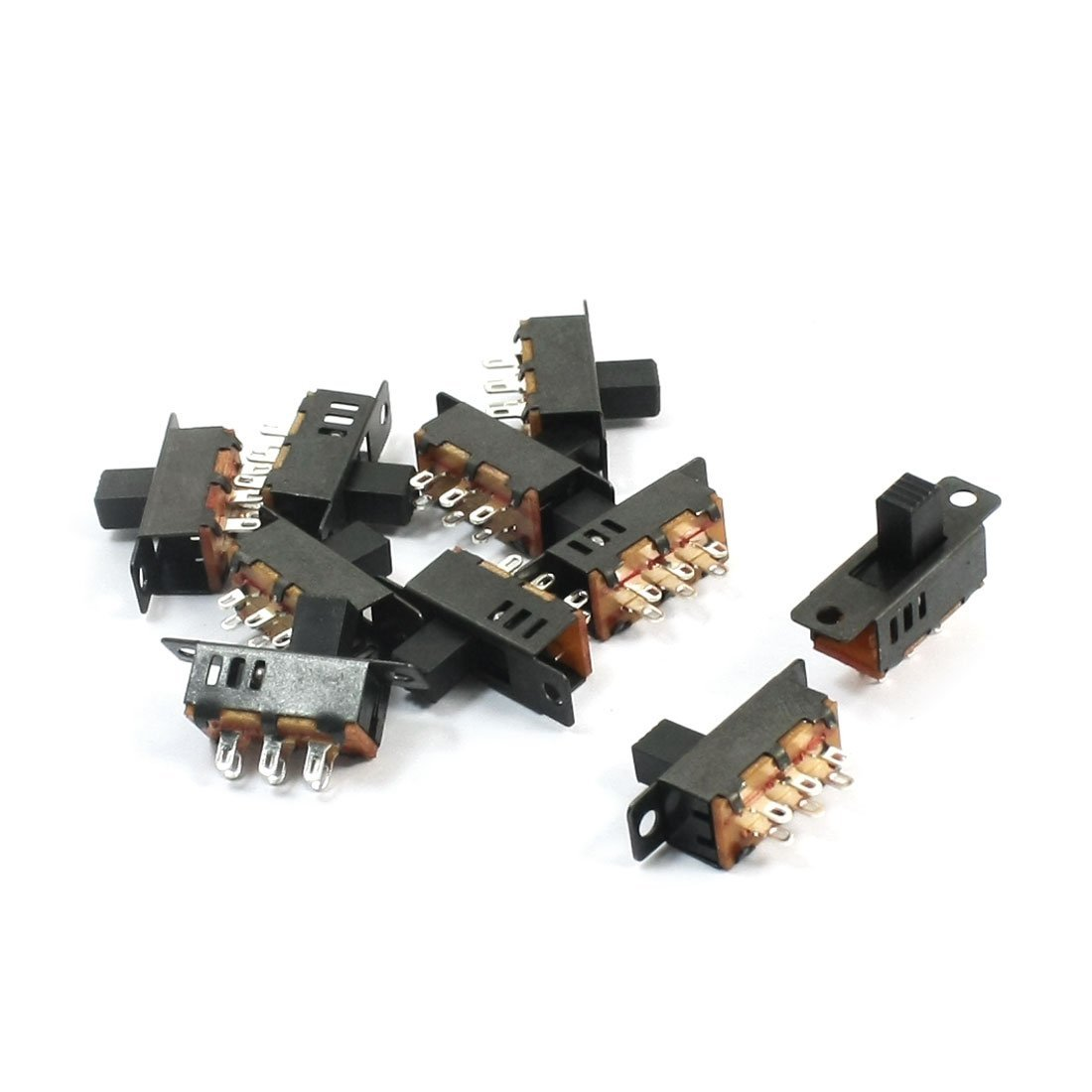 10Pcs DPDT 3-Position 6 Pin Miniature Horizontal Sliding Slide Switch DealMux DLM-B00OK664SC