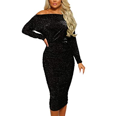 539bc71a72 BODOAO Women Long Sleeve Off Shoulder Dress Sequin Sparkly Evening Party  Club Ruched Bodycon Dress Black