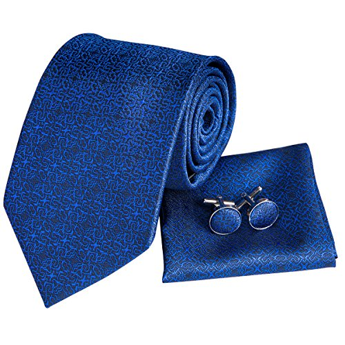Tie Squares (Hi-Tie Blue Silk Tie for Men Formal Mens Tie Set with Handkerchief Cufflinks Classic Wedding Tie)