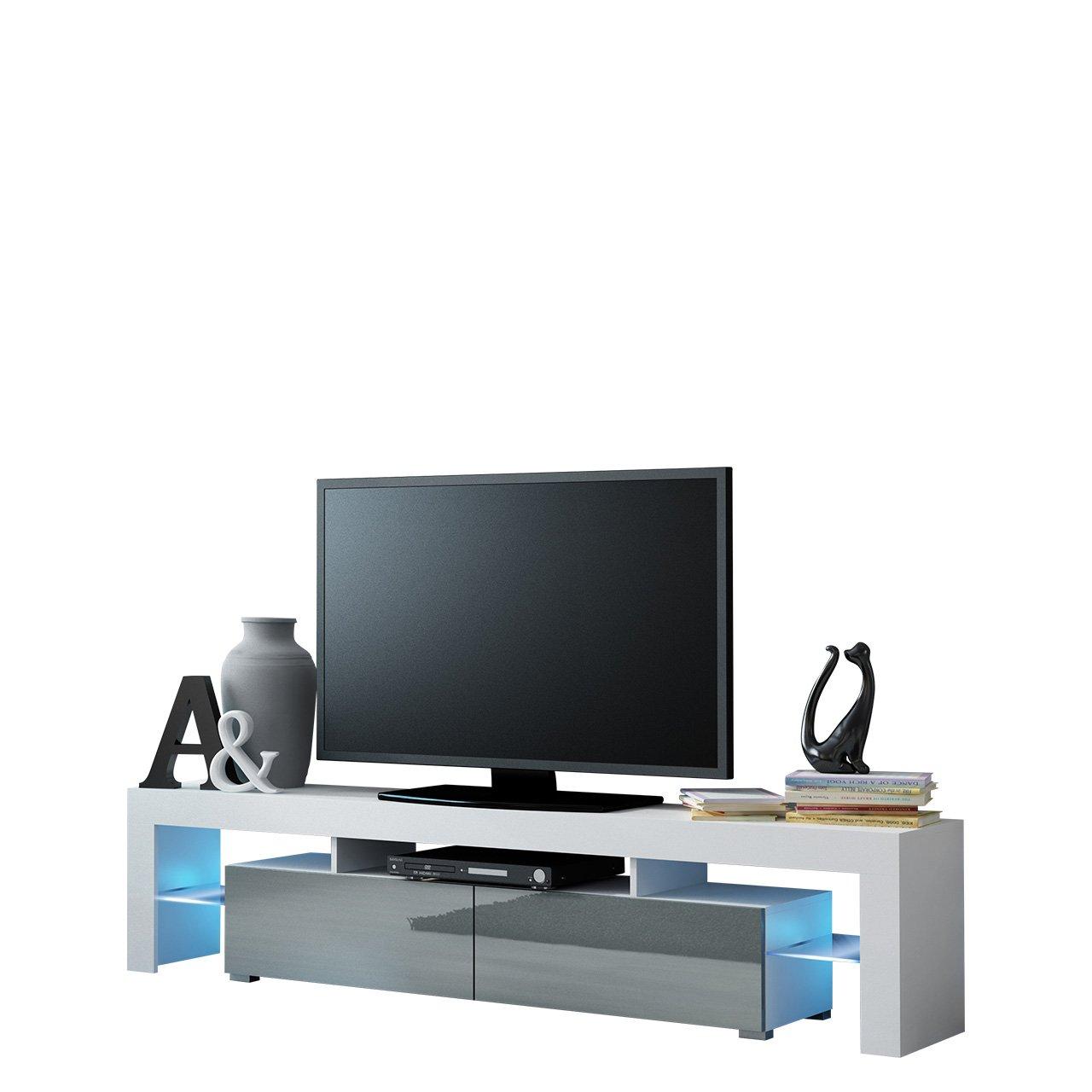 Mirjan24  TV Schrank Solo, Unterschrank mit LED, Fernsehschrank, TV Lowboard mit Grifflose Öffnen, Hochglanz Matt Wohnwand (mit Blauer LED Beleuchtung, Weiß Matt/Grau Hochglanz)