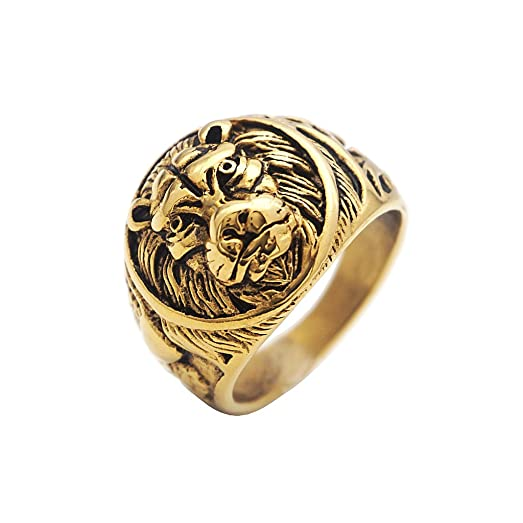 MagiDeal Vintage Gold Lion Ring Stainless Steel Lion Head Rings US