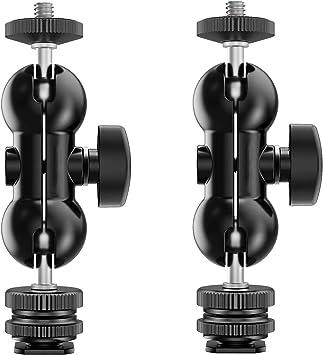 "SmallRig Ballhead Multi-function Double Ballhead with Cold Shoe Mount 1//4/"" Screw"