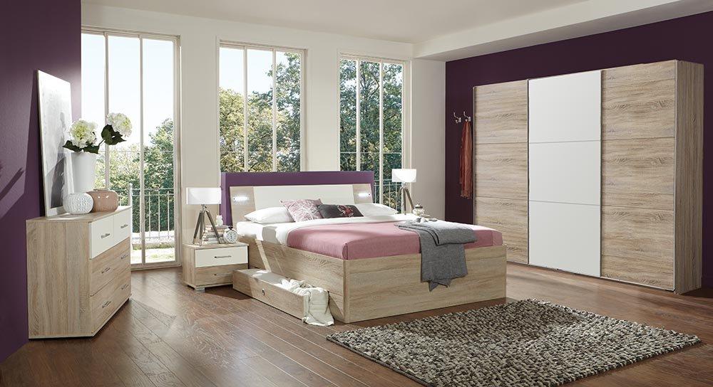 4-tlg-Schlafzimmer in Eiche sägerau-NB mit Abs in Alpinweiß, Schwebetürenschrank B: 313 cm, Bett mit Schubkästen B: 180 cm, 2 Nachtschränke je B 52 cm