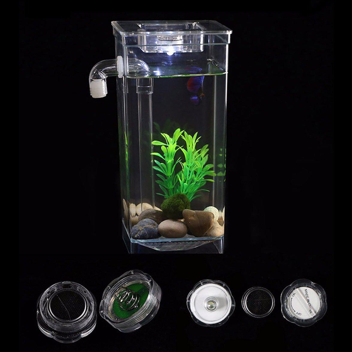 Legendog Pequeño Acuario de Peces Acuario Automático Cambio de Agua Tanque de Acuario Tanque de Plástico con Luz LED: Amazon.es: Productos para mascotas