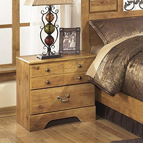 Ashley Furniture Signature Design - Bittersweet Nightstand - 2 Drawers - Rectangular - Vintage Casual - Light Brown (Brass Pine Bed)