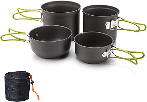 Tentock Outdoor Backpacking Cooking Picnic Aluminum Bowl Pot Pan Set 4pcs Camping Cookware with Mesh Storage Pouch
