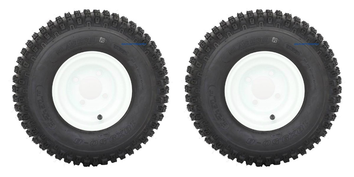 Slasher Knobby 18x9.50-8'' Golf Cart Tires / ATV Tires and 8'' White Steel Golf Cart Wheel Combo - Set of 2 by Golf Cart Tire Supply (Image #1)