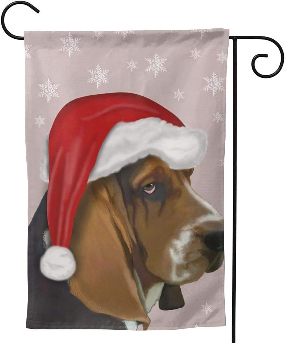 Only Pineapple Basset Hound Funny Christmas Snowflakes Seasonal Family Welcome Double Sided Garden Flag Outdoor Funny Decorative Flags for Garden Yard Lawn Decor Party Gift Many Sizes