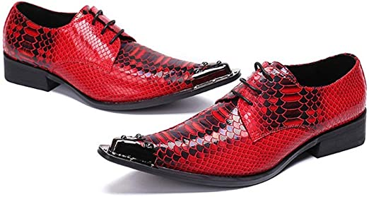 Z.L.FFLZ Chaussure Oxford Cheveux Rouge en Cuir Styliste