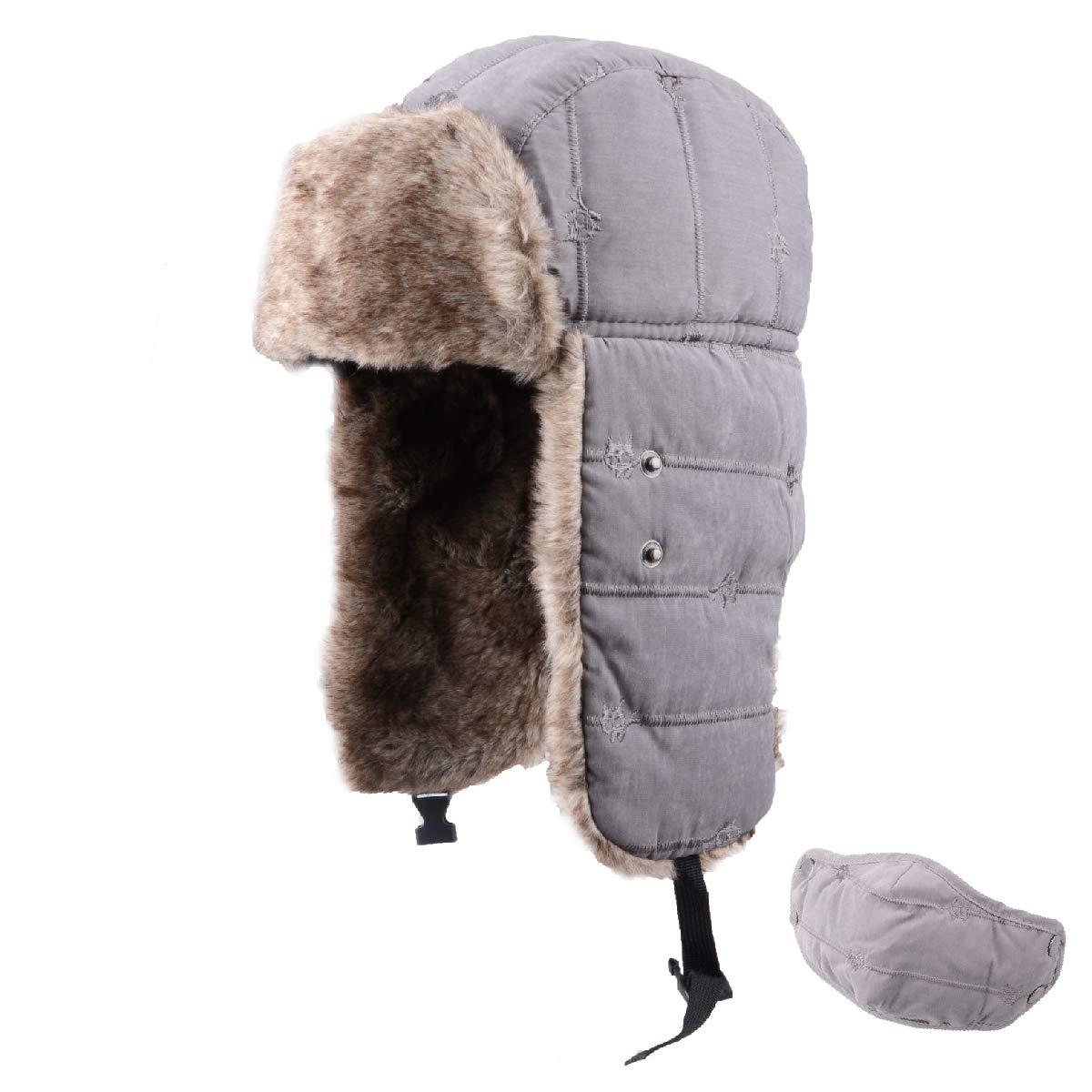 TRIWONDER Winter Trape Hat Hat Ushanka Russian Ear Flap Aviator Hat con Maschera OS1402BE