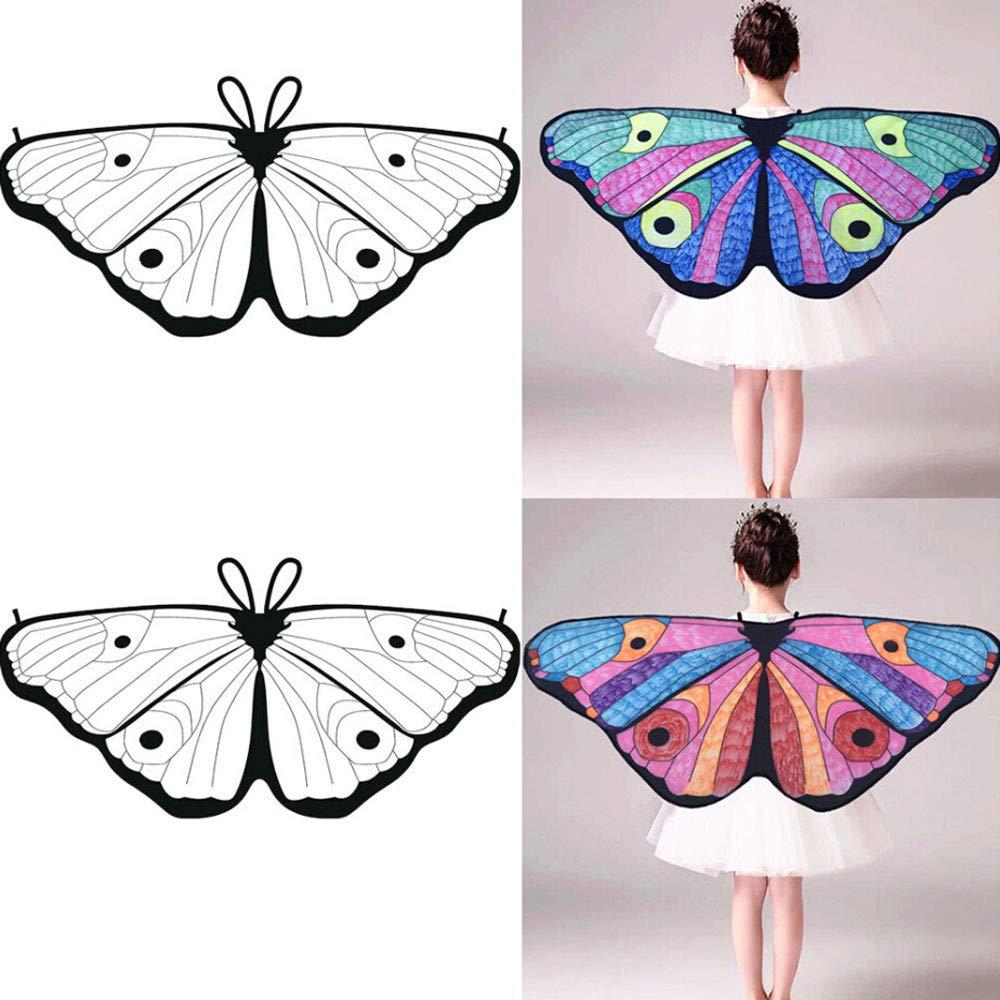 Cinnamou Disfraces Mariposas de Niñ A, Disfraz de Alas Ninfa con Diseñ o de Mariposas Chal Divertidos Princesa Princesas Disney Halloween Bebe Hada 118x48CM)