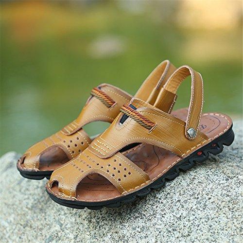 Sandalia Zapatillas Deportes Ocio de Sandalias de Antideslizante Respirable Interior de Ajustables de Hombre y Pescador Exterior Playa Cuero adecuadas de Khaki para Verano para zIFwqI4xT