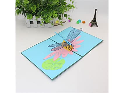Amazon wesource 3d handmade pop up greeting card dragonfly wesource 3d handmade pop up greeting card dragonfly lotus valentine birthday invitation card gift blue m4hsunfo