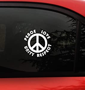 "Plur - Peace Sign Decal Sticker- EDM- Peace Love Unity Respect- Size 5.2"" x 5.2"" inch Vinyl for car Window Wall Laptop P.L.U.R -EDM Rave"