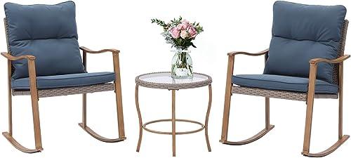 SUNBURY Outdoor Furniture 3-Piece Woodgrain Rocking Chair Set w Blue Cushion