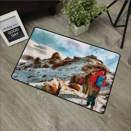 Hall mat W35 x L47 INCH Mountain,Group of Trekkers Hiking Among Snows of Kilimanjaro in Winter in Painting Style,Multicolor Non-Slip, with Non-Slip Backing,Non-Slip Door Mat Carpet