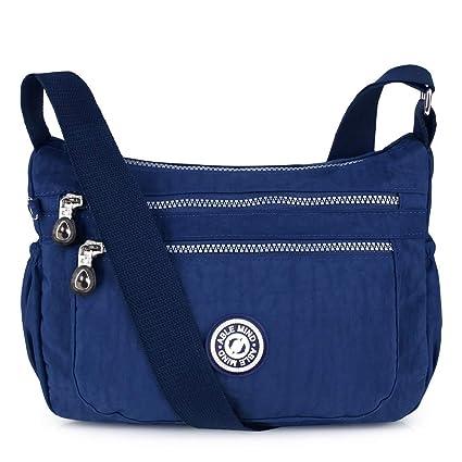 ABLE Multi Bolsillo Bolso Ocio Bolsa Viaje Mensajero Bolsas Impermeable Mujer Bolsos de Mano Bolsas de Viaje Messenger Bag (3-Azul)