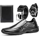 Sapato Social Conforto Brilhante Sapatofran Masculino com Relógio Carteira e Cinto