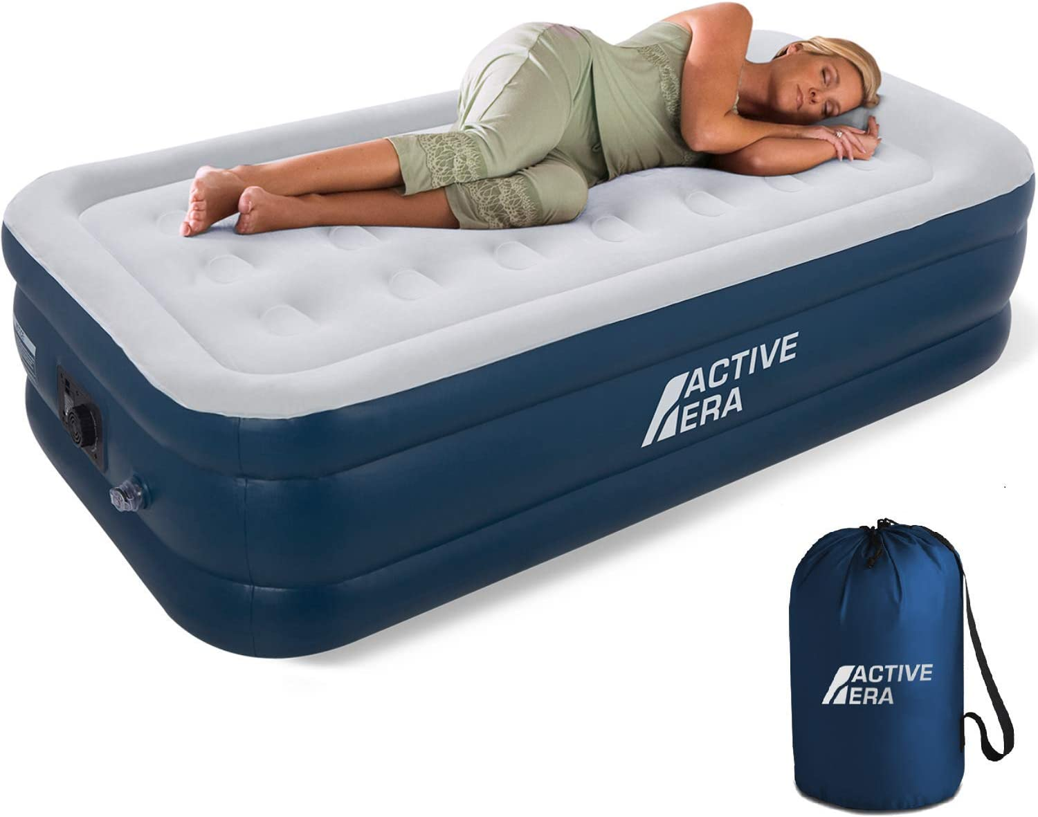 "Active Era Premium Twin Air Mattress (Single) with Built-in Pump and Raised Pillow - Elevated Inflatable Airbed 75"" x 39"" x 18"" - Puncture Resistant Airbed with Waterproof Flocked Top : Sports & Outdoors"