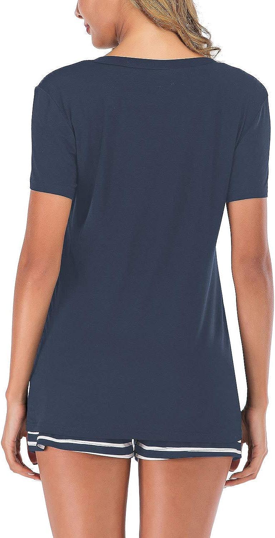 Lus Chic Womens Short Sleeves Pajamas Set Stripe Top Shorts Nightwear 2 Pieces Soft PJ Loungewear