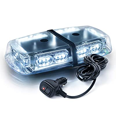 Xprite Gen 3 White 36 LED 18 Watts Roof Top Hign Intensity Law Enforcement Emergency Hazard Warning LED Mini Bar Strobe Light with Magnetic Base: Automotive