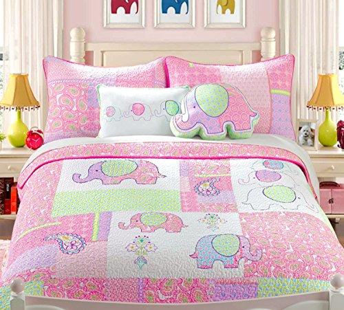 (Cozy Line Home Fashions 5-Piece Quilt Bedding Set, Cute Elephant Pink Light Purple 100% Cotton Bedspread Coverlet Set(Full/Queen- 5pc: 1 Quilt + 2 Standard Shams + 2 Decorative Pillows))