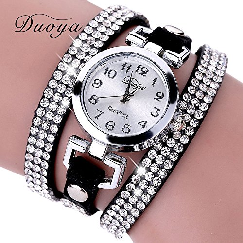 Gift Watch Wensltd Clearance Sale! Women Casual Wrist Bracelet Watch with Fashion Round Silver Dial Gift (Black)