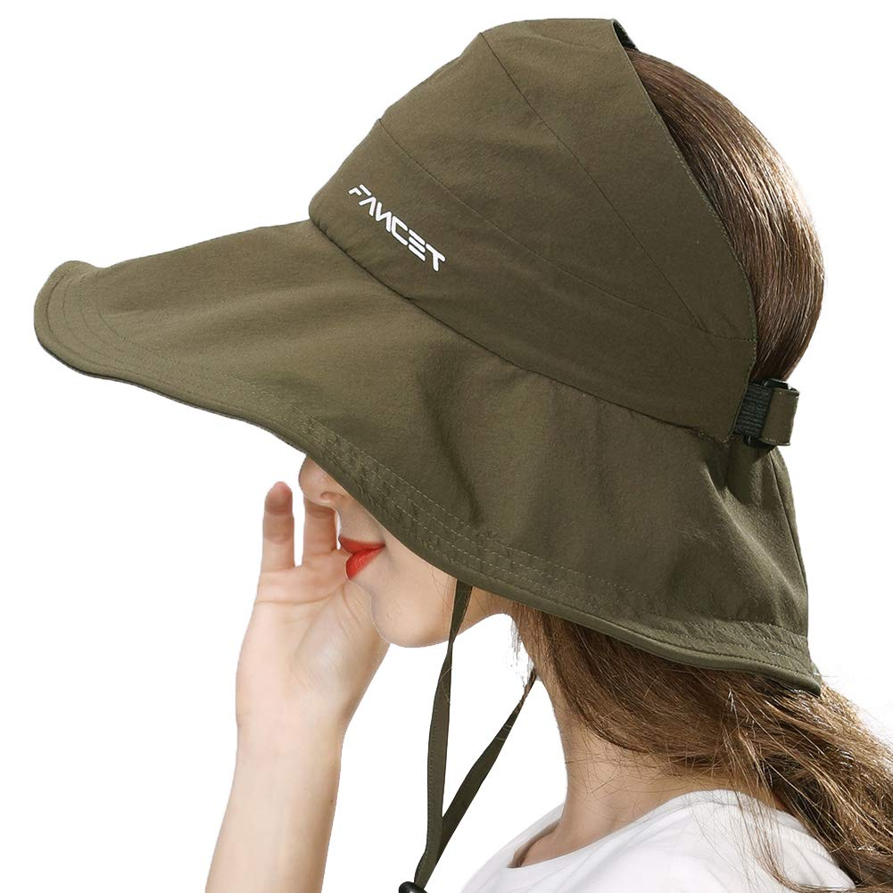 Fishing Sun Hat for Men Women Nylon UV Protective Open Top Foldable Hunting Hiking Gardening Outdoors Army Green