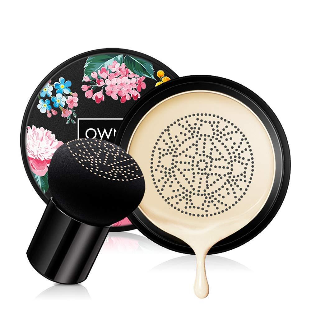 Ownest Mushroom Head Air Cushion BB Cream, Concealer Lasting Nude Makeup Moisturizing Brightening Pigment CC Liquid Foundation, Even Skin Tone Makeup Base Primer(Ivory)