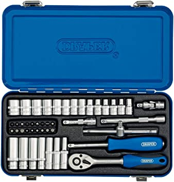 Draper BD45M/MT Juego de Llaves de Vaso métricas cuadradas en Caja metálica, Azul, 1/4-Inch, Set de 45 Piezas: Amazon.es: Bricolaje y herramientas
