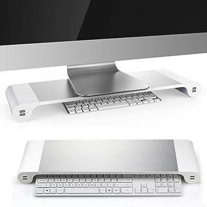Soporte para monitor de ordenador Kernorv de aluminio, multifunción, organizador de escritorio