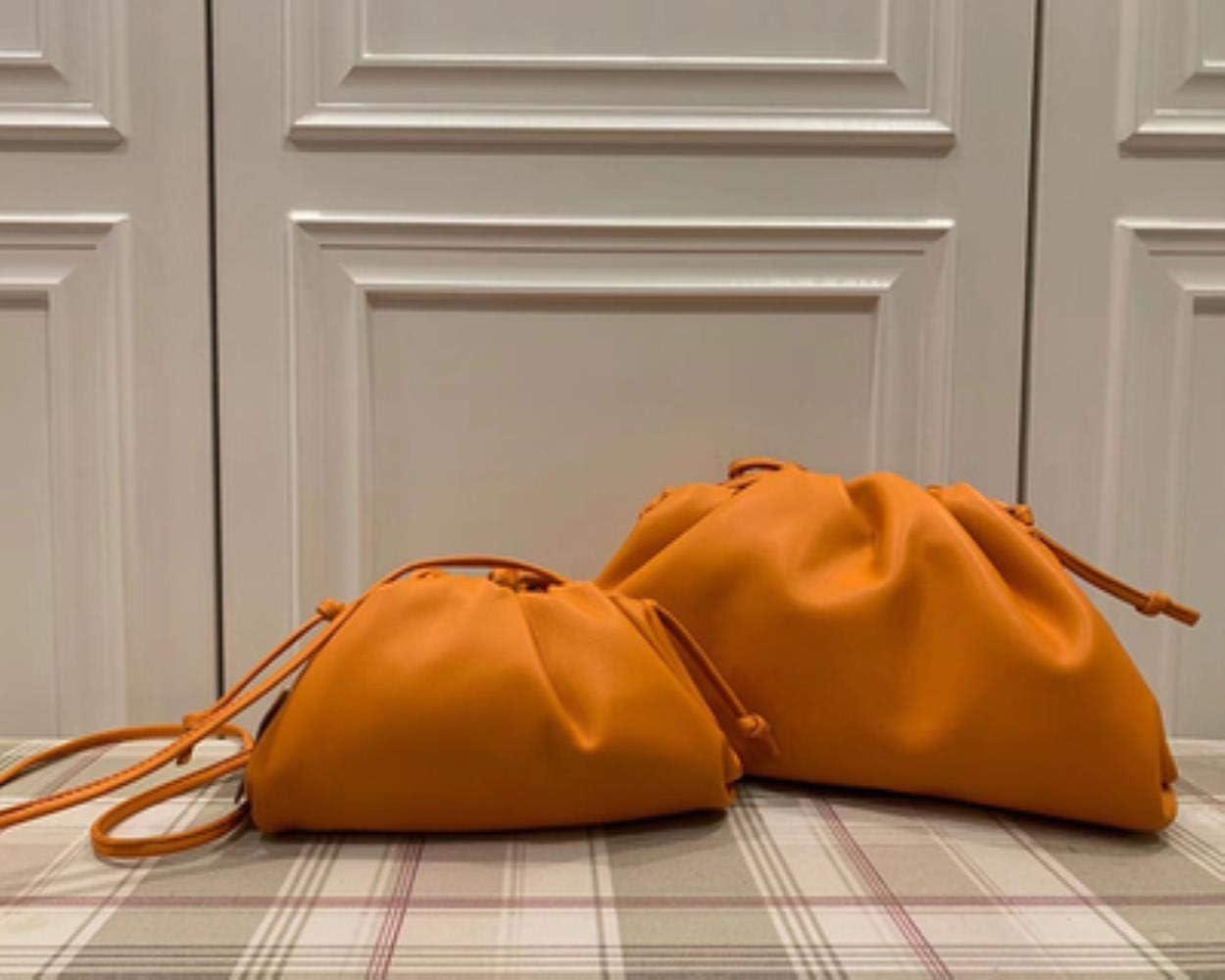 BWM Leather Envelope Bag Handbags Women Bags Rounded Shape Purses and Handbags Clutches,Purple Small Orange Big