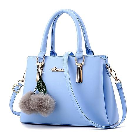 ZiXing Mujer Moda Bolsos de Mano Cuero Bolsa Bandolera Bolsos totes Azul  claro bf7ea7dd33f6