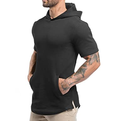 c1d66d673c1 Magiftbox Mens Hipster Hip Hop Workout Short Sleeve Hoodies Pullover Hooded  Gym Sweatshirts with Kanga Pocket
