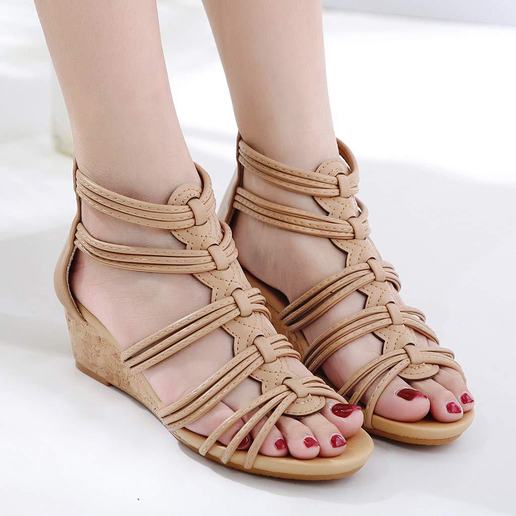 Women Girls Fashion Wedges Sandals Summer Casual Shoes Ladies Back Zipper Open Toe Braided Cross Sandals