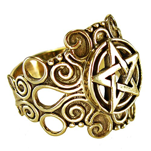Large Bronze Ornate Pentacle pentagram Ring Pagan Wiccan Jewelry (sz 4-15)
