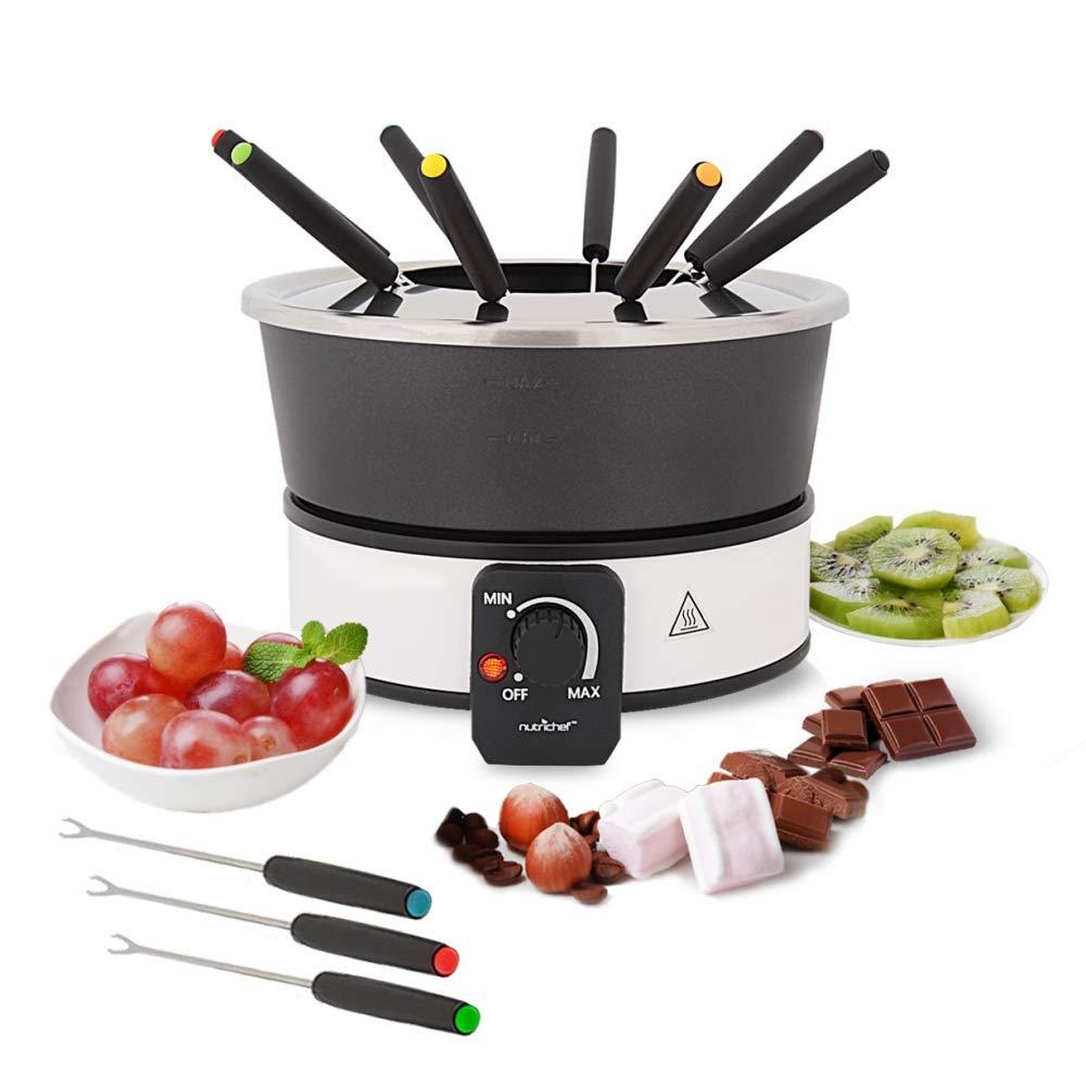 Electric Chocolate Fondue Maker Set - 1000W Warmer Machine Kit 2.1 Quart Nonstick Teflon Melting Pot w/LED Light, 8 Dipping Forks, Melts Cheese Chocolate Candy Sauce Dip - NutriChef PKFNMK26