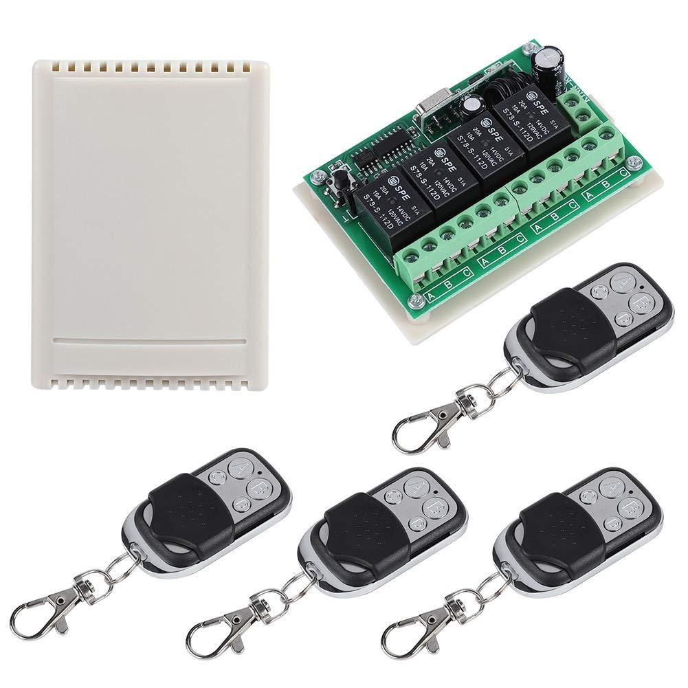 Zerone Interruptor de Mando a Distancia de 4/V/ías multifunci/ón Sin Hilos con 100/Metros de Receptor de Rel/é A Rel/é 12/V para Todos los Campos