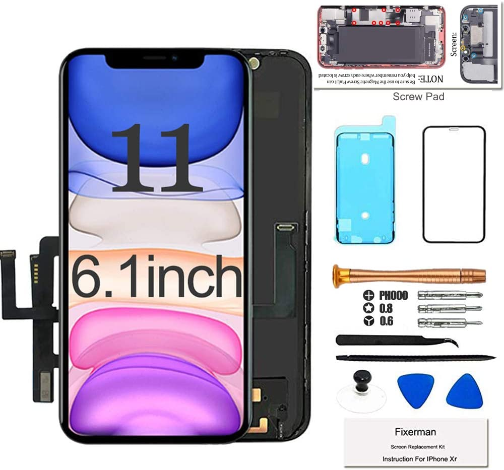 Fixerman for iPhone 11 LCD Screen Replacement 6.1 inch, 3D Touch Display Digitizer Assembly with Repair Tools, Compatible with iPhone 11(A2111, A2223, A2221) (6.1 inch)