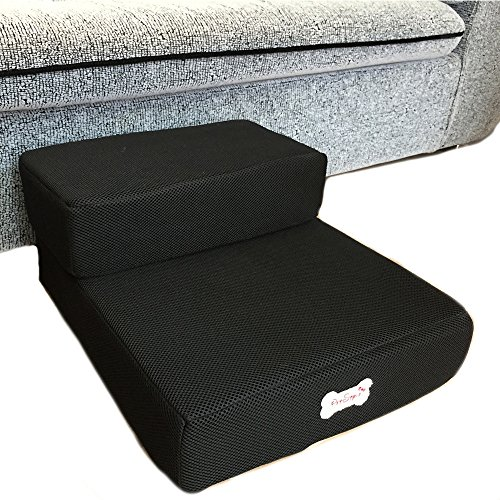 Cheap Foldable Pet Dog Cat Stairs Steps For Small Dog Breathable Mesh Dog Mat Cushion Bed Steps Ramp With Detachable Cover Pet Product 1pc (2 layers step, Black)