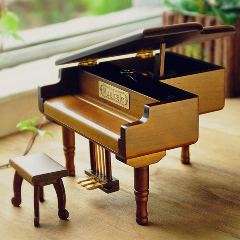 Silent Night WOOD PIANO WIND UP MUSIC BOX