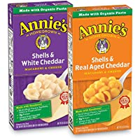 Annie's Shells & White Cheddar and Shells & Aged Cheddar Macaroni and Cheese (Pack of 12)
