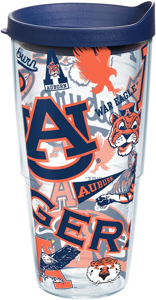 Tervis 1239074 NCAA Auburn Tigers All Over Tumbler with Lid 24 oz Clear